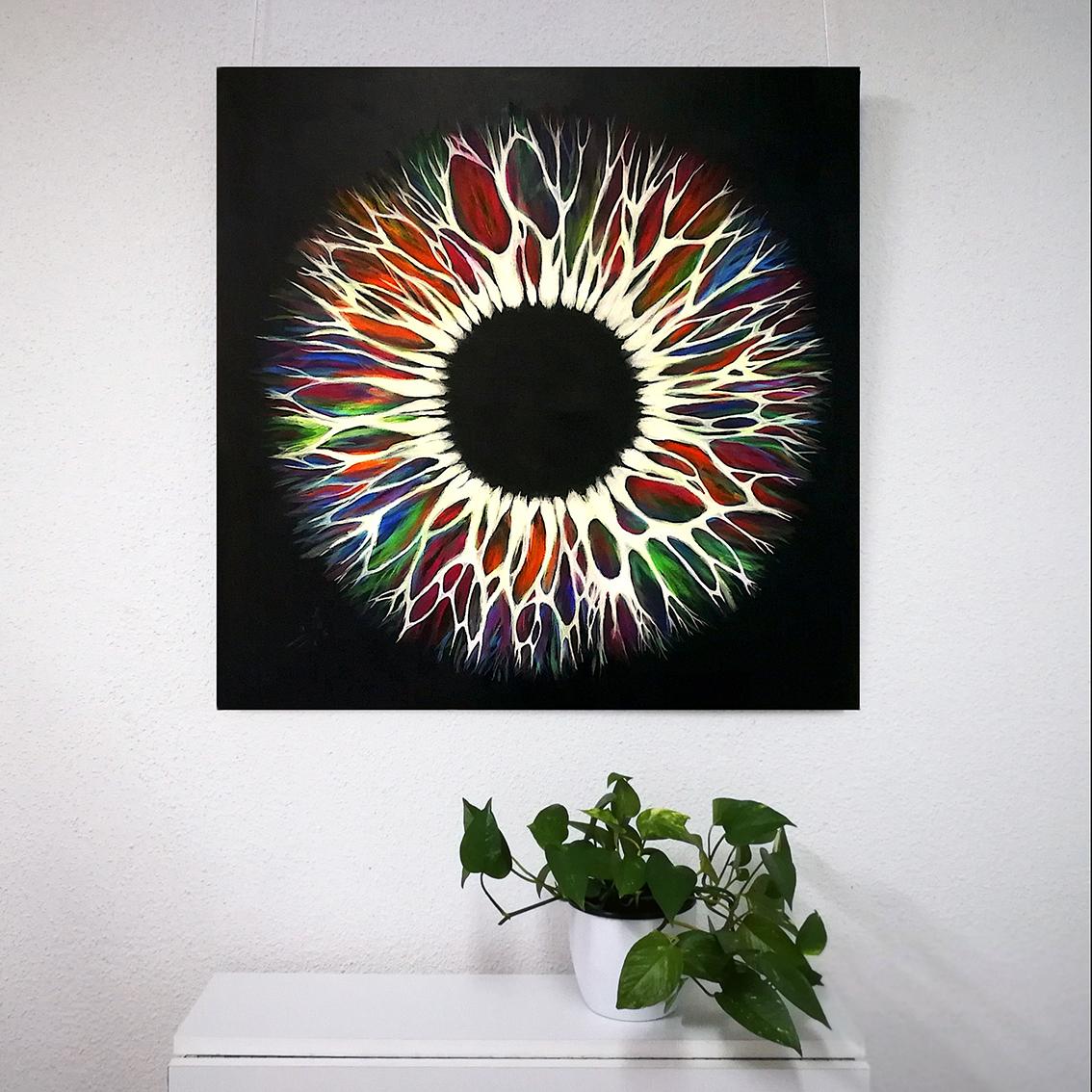 Vicky-Casellas.-Iris-fluorescente.-Arte-fluorescente.-80x80-cm.-Acrílico-sobre-lienzo-1