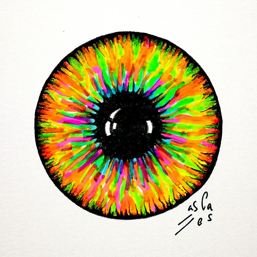 Iris-fluorescente.-Vicky-Casellas.-Ilustración-fluorescente.-Arte-fluorescente