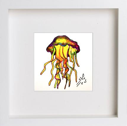Medusa-amarilla.-Vicky-Casellas.-Ilustración-fluorescente.-Arte-fluorescente-uv