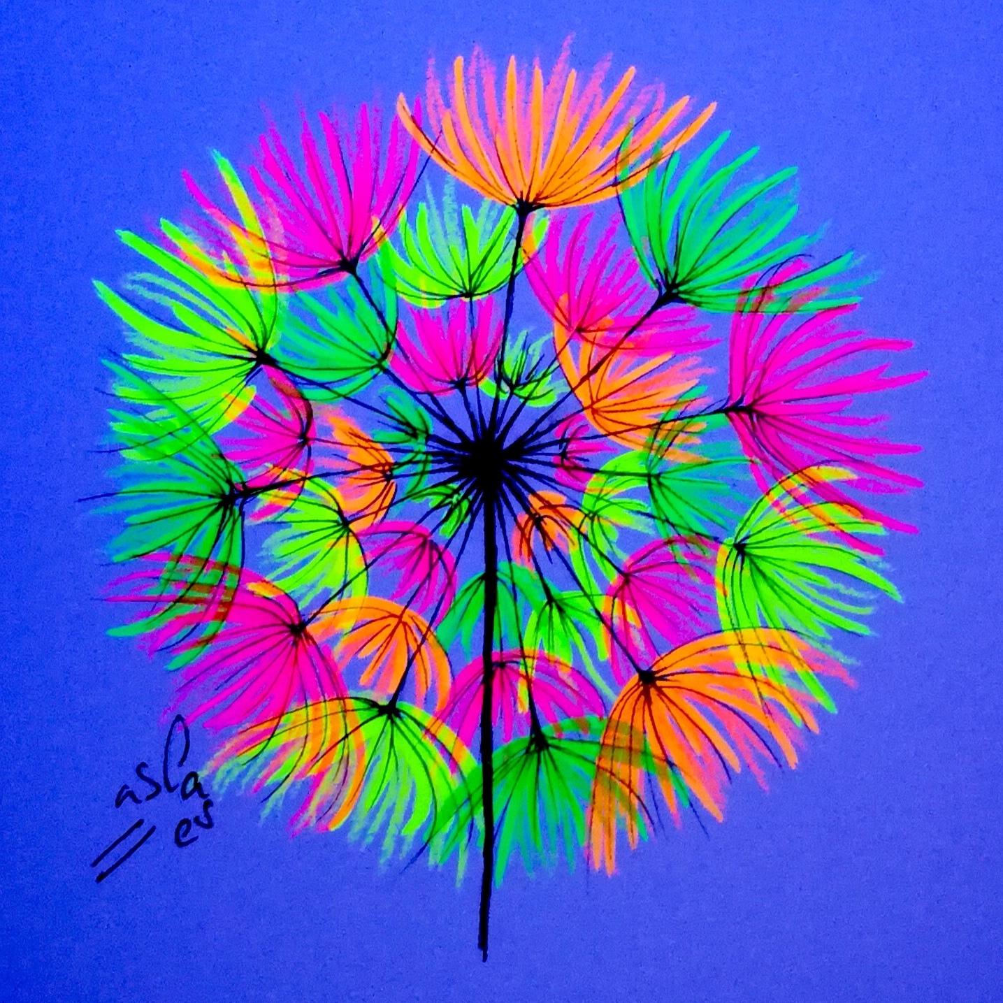 Vicky-Casellas.-Diente-de-león.-Ilustración-fluorescente.-Fluo-art-Casellas.-Fluoresent-art