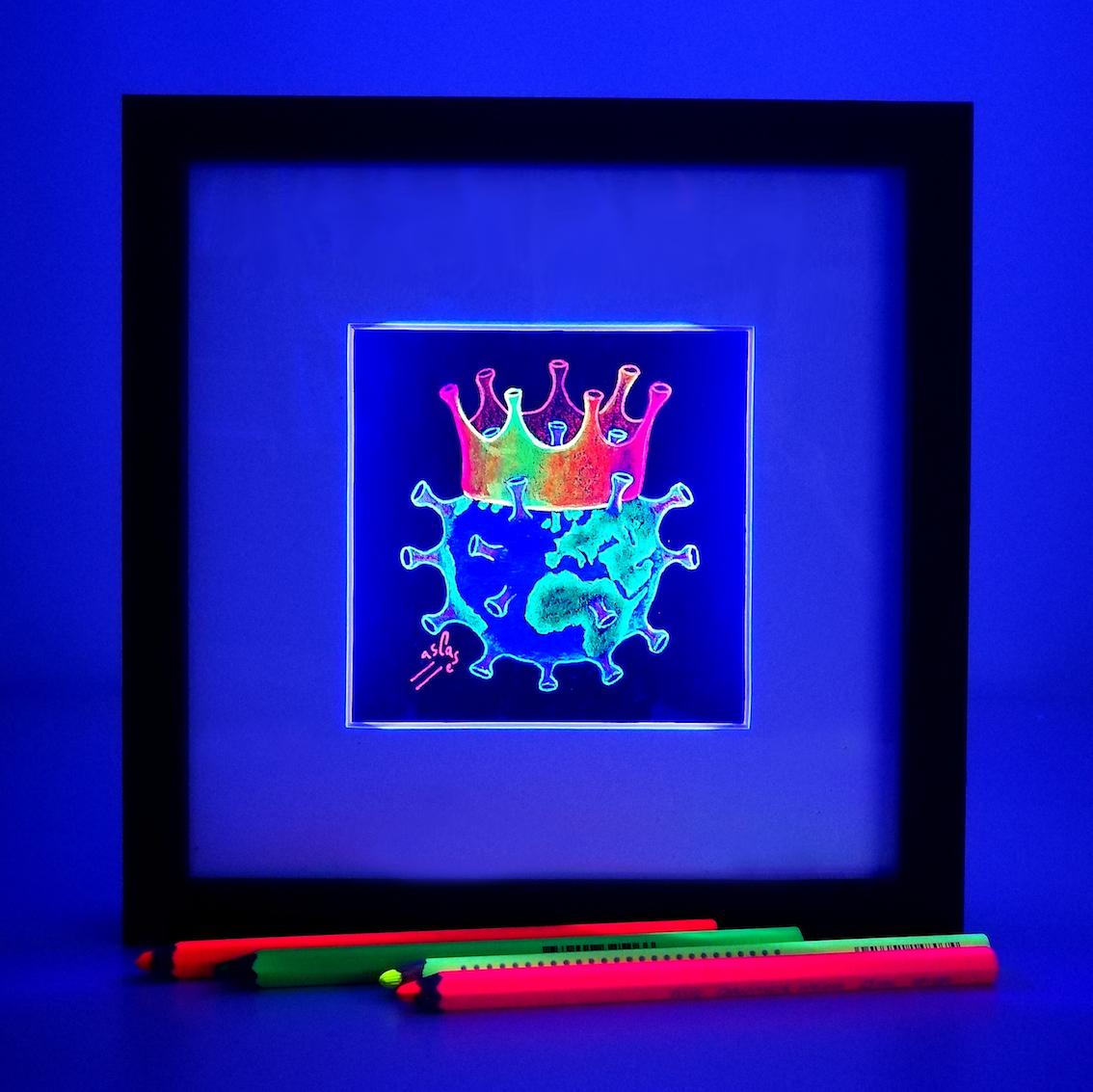 Coronavirus-fluorescente.-Ilustración-marco-led-luz-negra-uv.-Vicky-Casellas