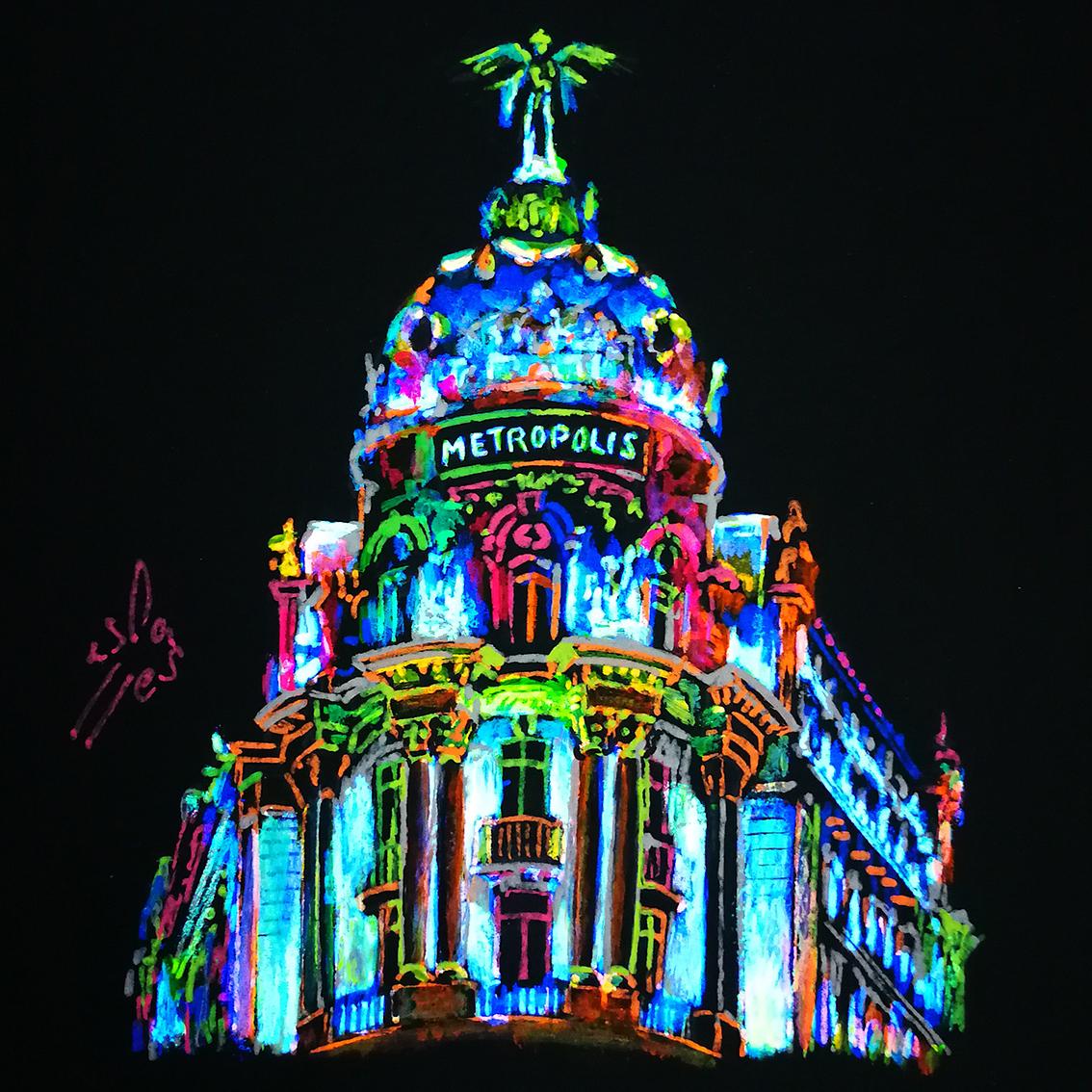 Edificio-Metropoli.-Fluorescent-Illustrations.-Night-City-Lights-Collection-by-Vicky-Casellas.-Fluorescent-art