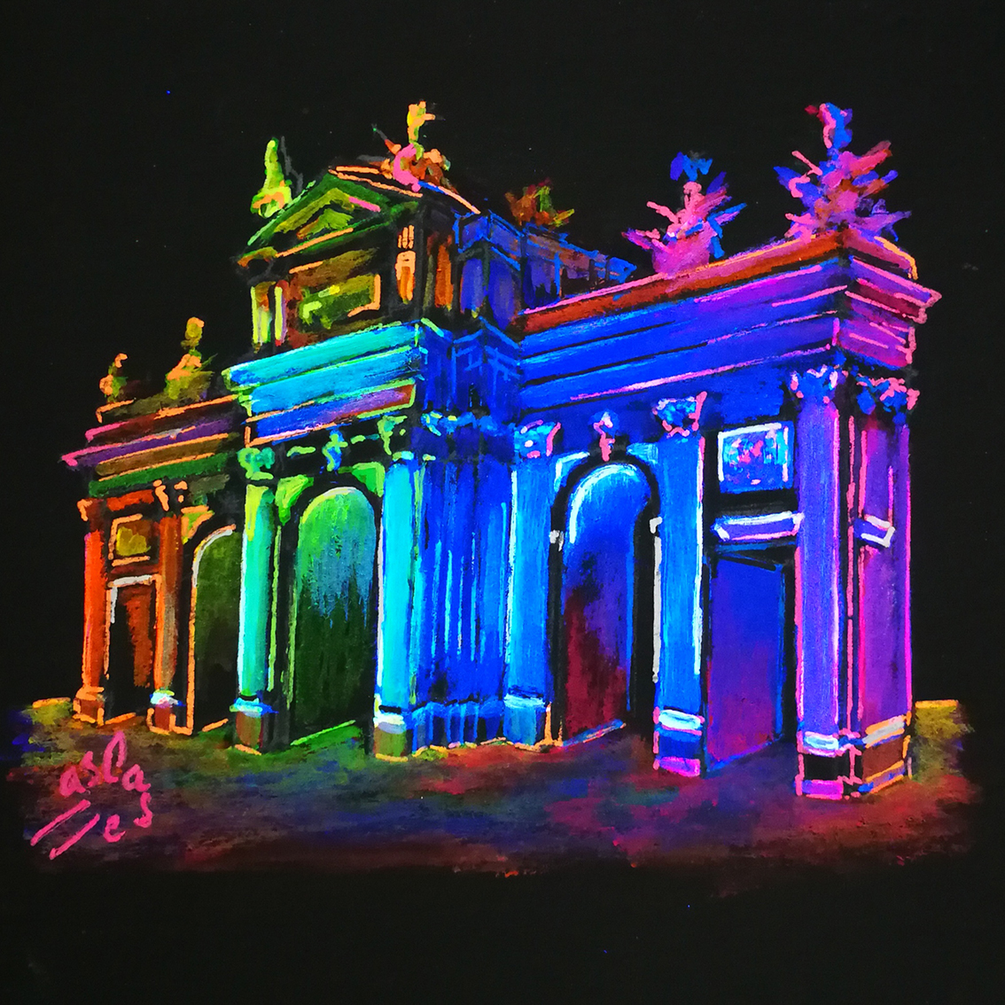 Puerta-de-Alcala.-Fluorescent-Illustrations.-Night-City-Lights-Collection-by-Vicky-Casellas.-Fluorescent-art