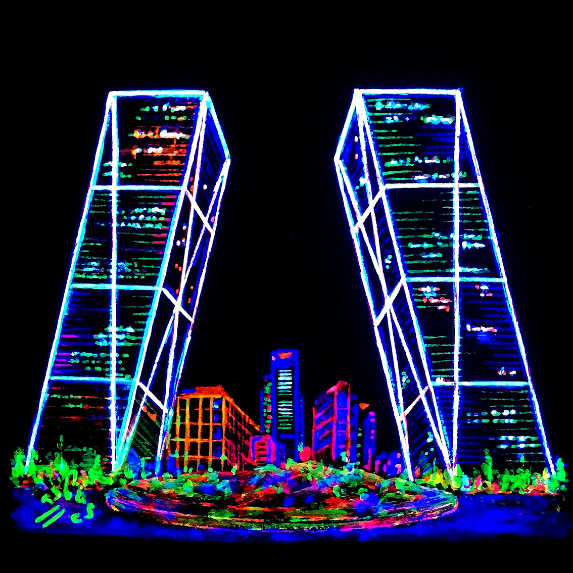 Torres-Kio.-Fluorescent-Illustrations.-Night-City-Lights-Collection-by-Vicky-Casellas.-Fluorescent