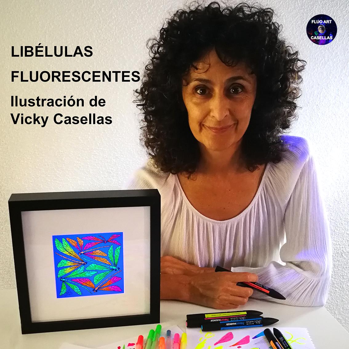 Libélulas-fluorescentes.-Ilustracion-fluorescente-Vicky-Casellas.-Arte-fluorescente.-Fluo-Art-Casellas